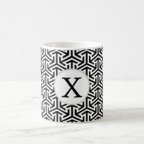 monogram black and white geometrical pattern coffee mug