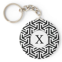 monogram black and white geometrical pattern keychain