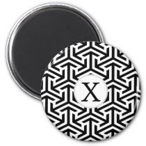 monogram black and white geometrical pattern magnet