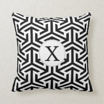 monogram black and white geometrical pattern throw pillow