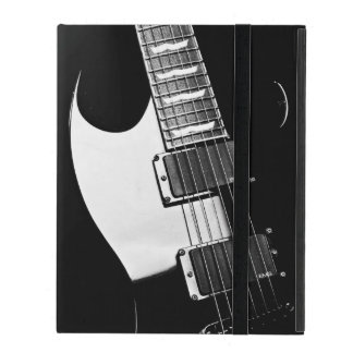 Monogram Black and White Guitar Music iPad Folio Case