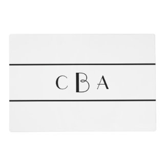 Monogram Black and White Laminated Place Mat