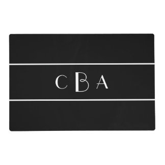 Monogram Black and White Laminated Placemat