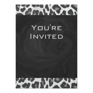 Monogram Black and White Leopard Print Card