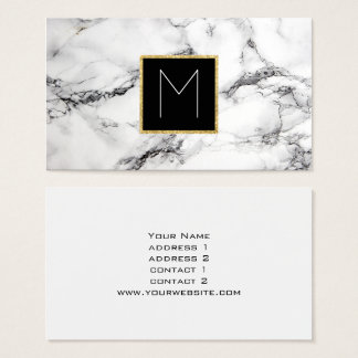 monogram black and white marble business card