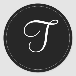 "MONOGRAM: Black and White Monogram template ""T"" Stickers"
