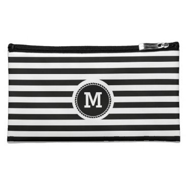 Beach Themed Monogram. Black and White Nautical Theme. Cosmetic Bag
