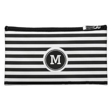 Beach Themed Monogram. Black and White Nautical Theme. Cosmetic Bag