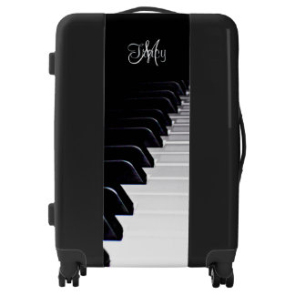 Monogram Black and White Piano Music Suitcase Bag Luggage