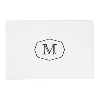 Monogram Black and White Placemat