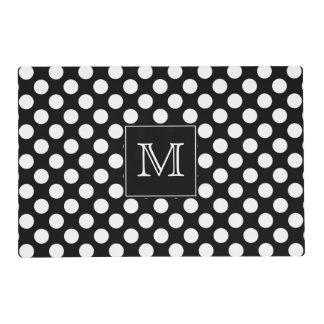 Monogram Black and White Polka Dot Laminated Place Mat