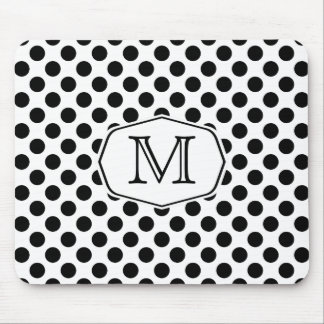 Monogram Black and White Polka Dot Mousepad