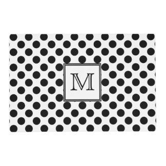Monogram Black and White Polka Dot Placemat