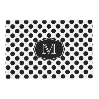 Monogram Black and White Polka Dot Placemat Laminated Place Mat