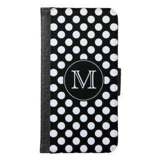 Monogram Black and White Polka Dot Samsung Galaxy S6 Wallet Case