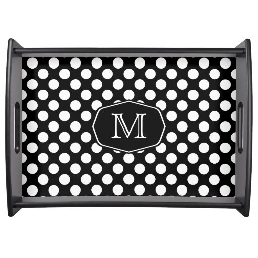 Monogram Black and White Polka Dot Serving Tray