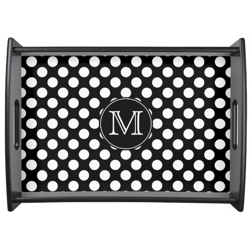 Monogram Black and White Polka Dot Serving Tray