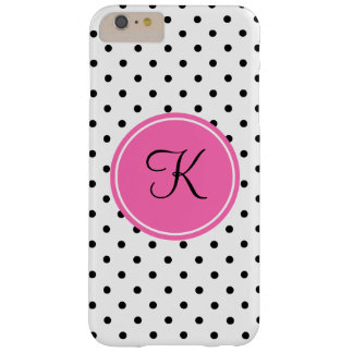 Monogram Black and White Polka Dot with Hot Pink Barely There iPhone 6 Plus Case