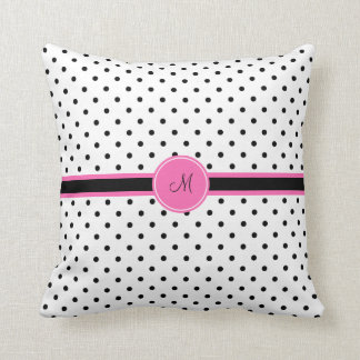 Monogram Black and White Polka Dot with Hot Pink Throw Pillow
