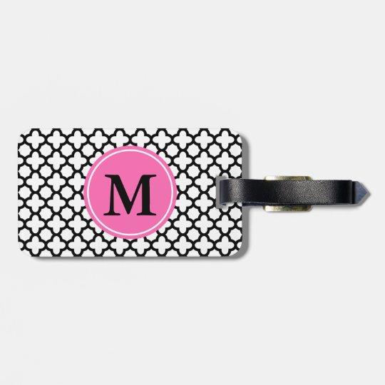 Monogram Black and White Quatrefoil Bag Tag