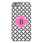 Monogram Black and White Quatrefoil Barely There iPhone 6 Case