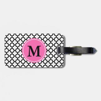 Monogram Black and White Quatrefoil Tag For Luggage