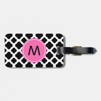 Monogram Black and White Quatrefoil with Hot Pink Tag For Luggage