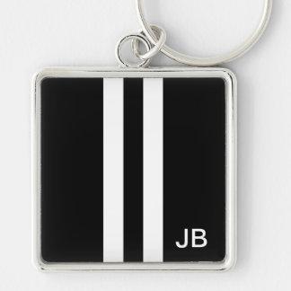 Monogram Black and White Stripe Mens Silver-Colored Square Keychain