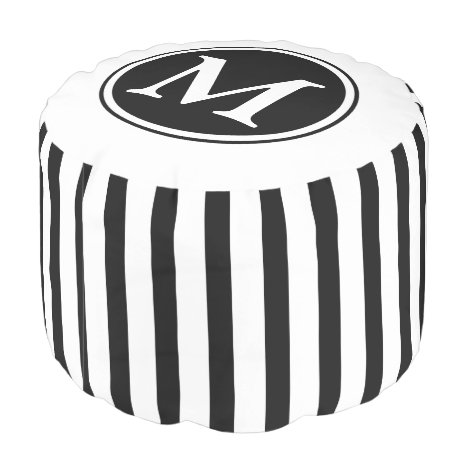 Monogram Black And White Stripes Pouf
