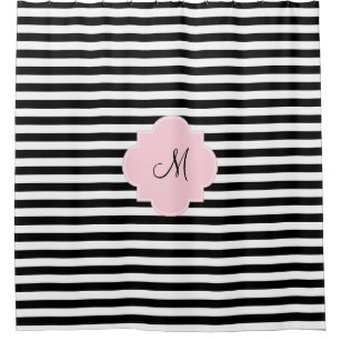 Monogram Black And White Stripes With Pastel Pink Shower Curtain