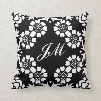 monogram black and white throw pillow