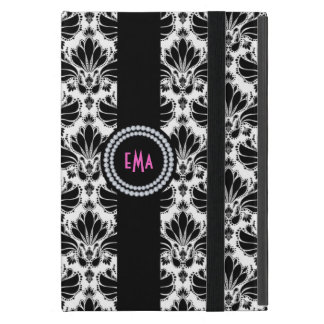 Monogram Black And White Vintage Floral Damasks iPad Mini Cover
