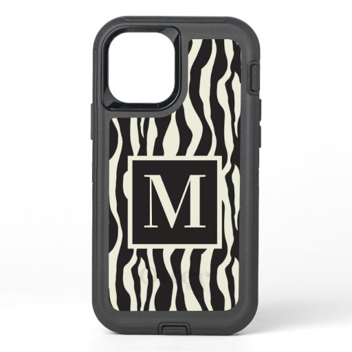 Monogram | Black and White Wild Exotic Zebra Print OtterBox Defender iPhone 12 Pro Case