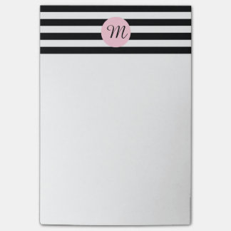 Monogram Black and White with Pink Striped Post-it® Notes