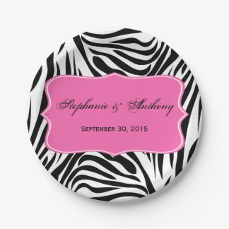 Monogram Black and White Zebra Print and Hot Pink 7 Inch Paper Plate