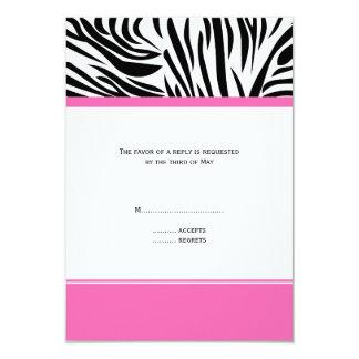 Monogram Black and White Zebra Print and Hot Pink 3.5x5 Paper Invitation Card