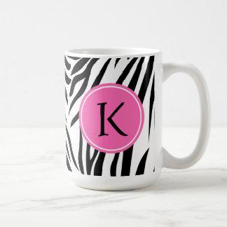 Monogram Black and White Zebra Print with Hot Pink Classic White Coffee Mug