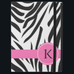 "Monogram Black and White Zebra Print with Hot Pink iPad Pro 12.9&quot; Case<br><div class=""desc"">Monogrammed black and white zebra pattern Powis iCase iPad Pro case. A hot pink band and a hot pink circle where you can put your initial.</div>"