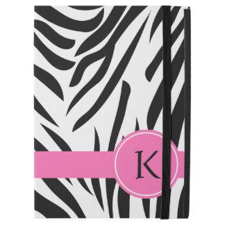 "Monogram Black and White Zebra Print with Hot Pink iPad Pro 12.9"" Case"