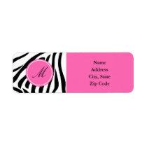 Monogram Black and White Zebra Print with Hot Pink Label