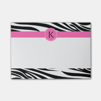 Monogram Black and White Zebra Print with Hot Pink Post-it Notes