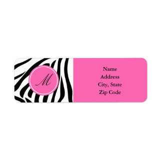 Monogram Black and White Zebra Print with Hot Pink Return Address Label