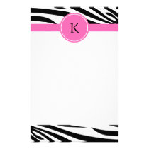 Monogram Black and White Zebra Print with Hot Pink Stationery