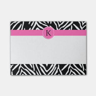 Monogram Black and White Zebra Print with Hot Pink Post-it® Notes