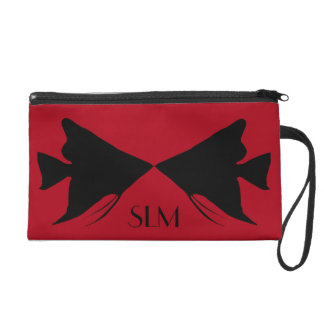 Monogram Black Angelfish on Dark Red Wristlet Purse