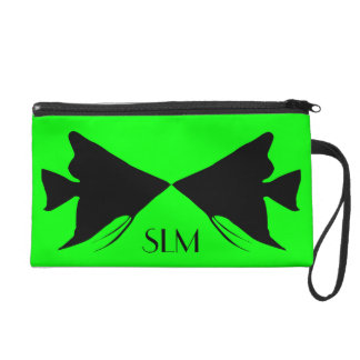 Monogram Black Angelfish on Lime Green Wristlet