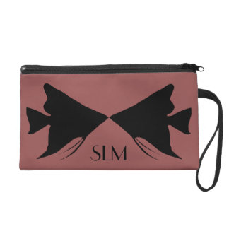 Monogram Black Angelfish on Marsala Wristlet