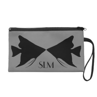 Monogram Black Angelfish on Medium Gray Wristlet Purse
