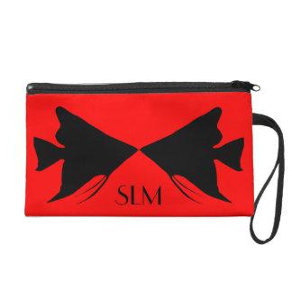 Monogram Black Angelfish on Red Wristlet Purse