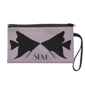 Monogram Black Angelfish on Sea Fog Purple Wristlet Purse